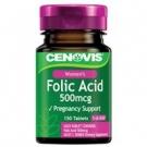 CENOVIS Folic Acid Фолиевая к-та (витамин B9)для беременных 500mcg x150 табл., Австралия